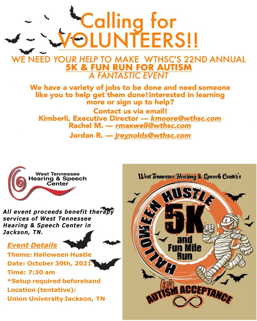 Halloween Hustle WTHSC 5k Volunteer Flyer